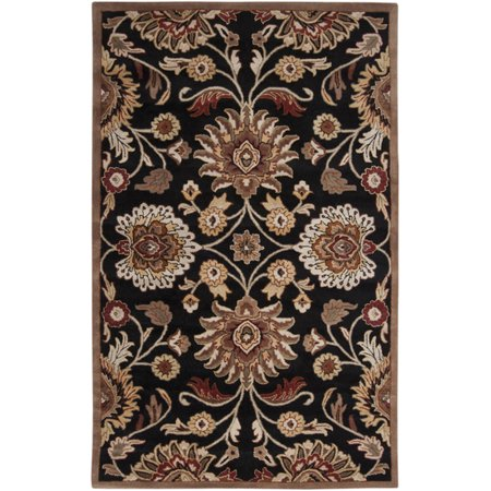 2' x 3' Octavia Coal Black and Maroon Red Hand Tufted Wool Area Throw Rug