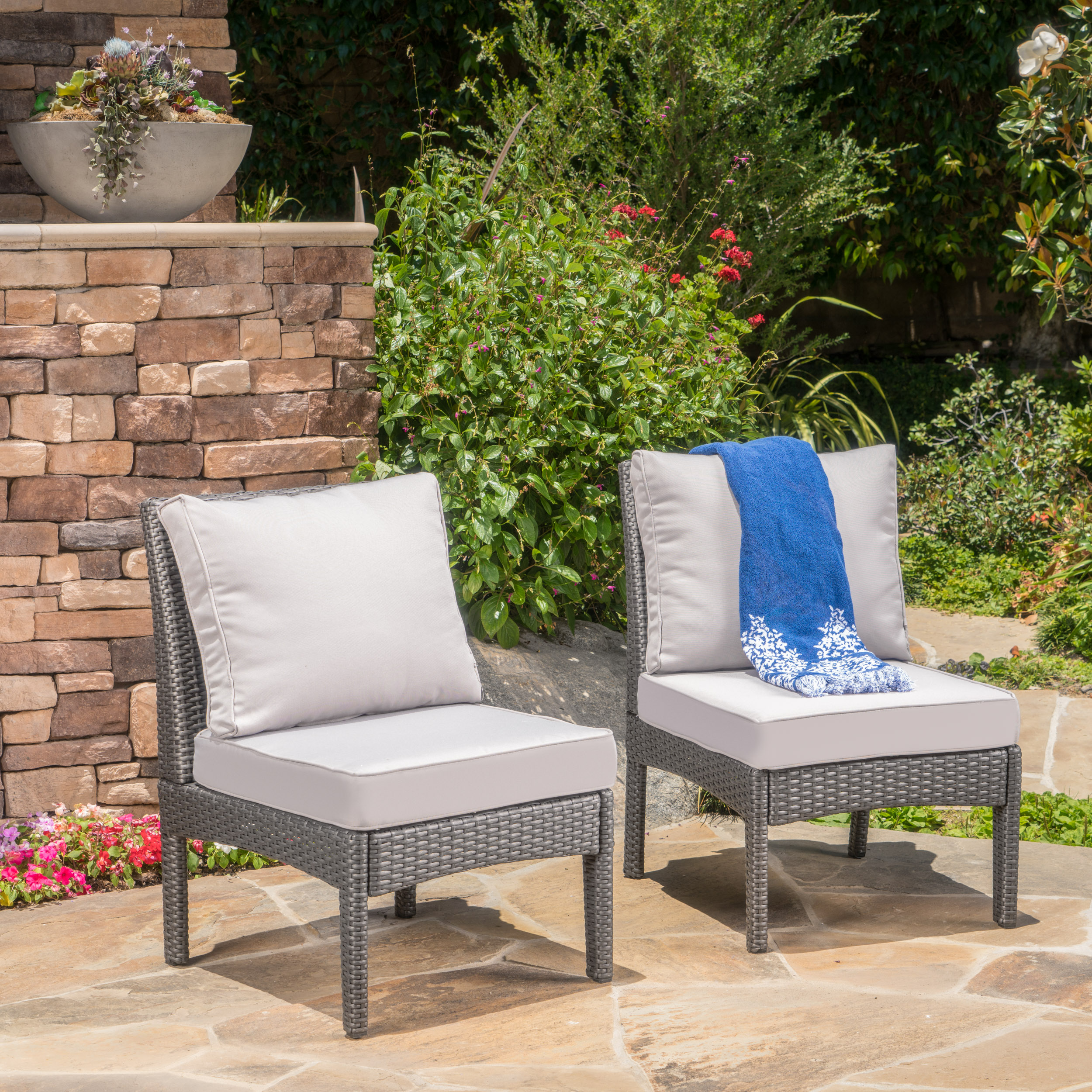 Kingsfield Outdoor Wicker Armless Accent Chair with Cushions, Set of 2, Grey, Silver