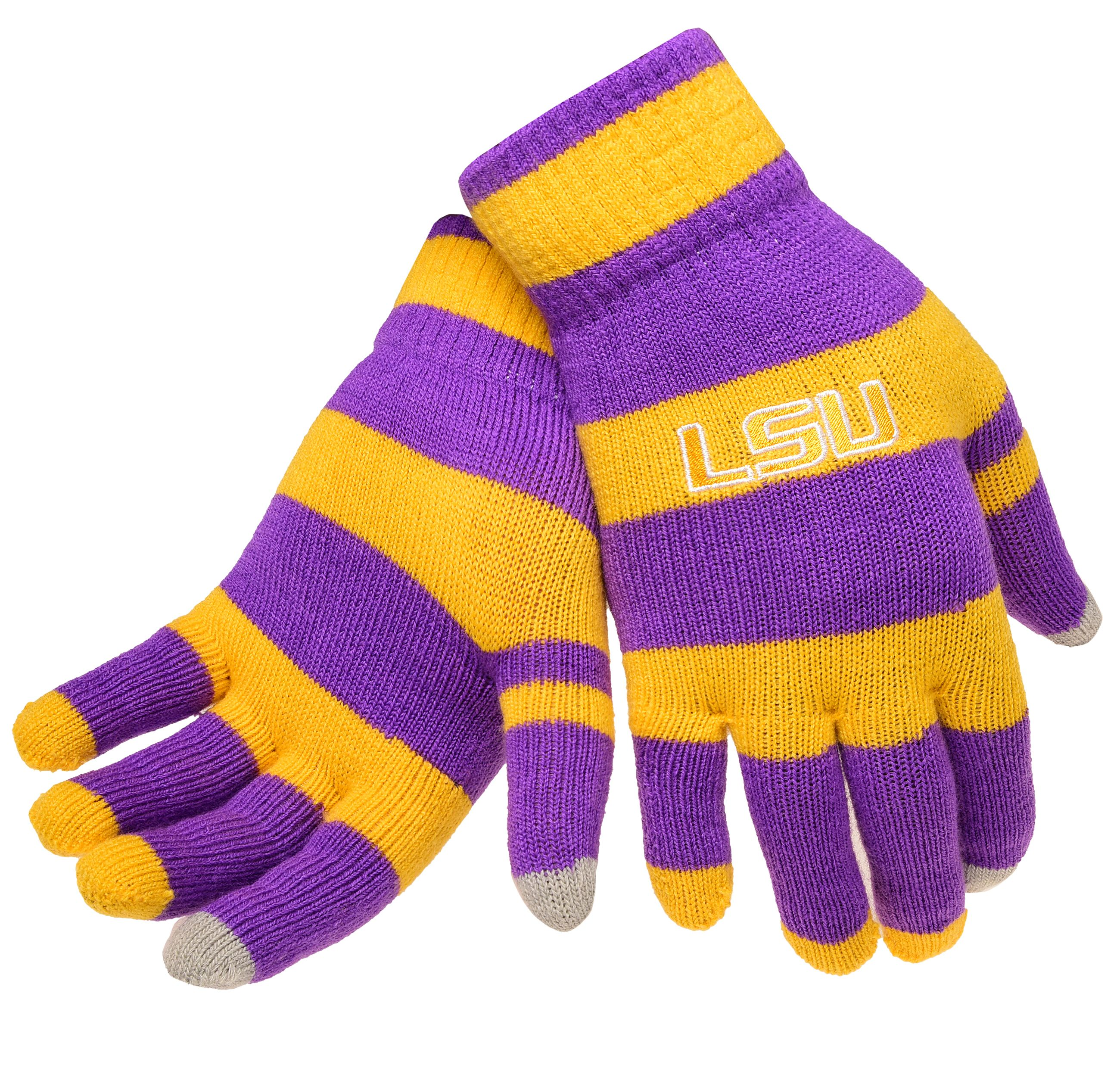 Lsu Tigers Official NCAA Glove Stripe Outdoor Winter Stretch Knit by Forever Collectibles 594154 by Forever Collectibles