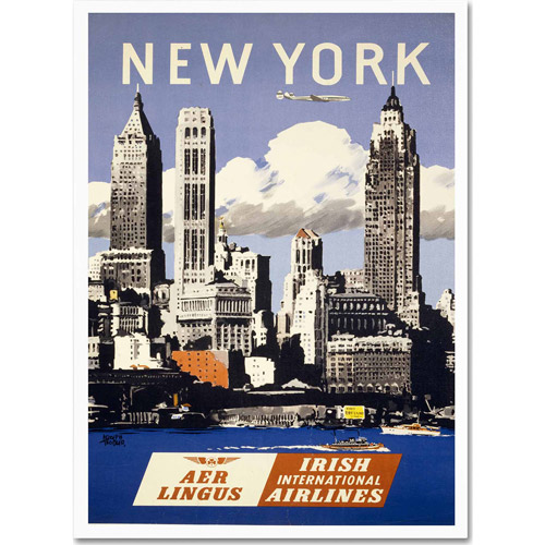 "Trademark Fine Art ""Trav NY Aer Lingus"" Canvas Art by Vintage Apple Collection"