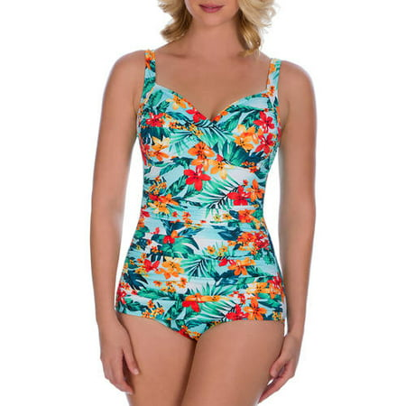 389b230eff4 Simply Slim - Women s Retro Slimming One-Piece Swimsuit - Walmart.com