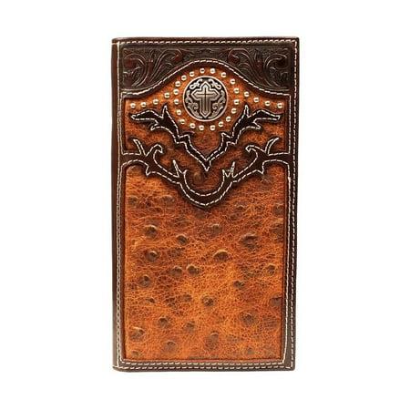 (Nocona Western Wallet Mens Rodeo Ostrich Cross Aged Bark N5464602)