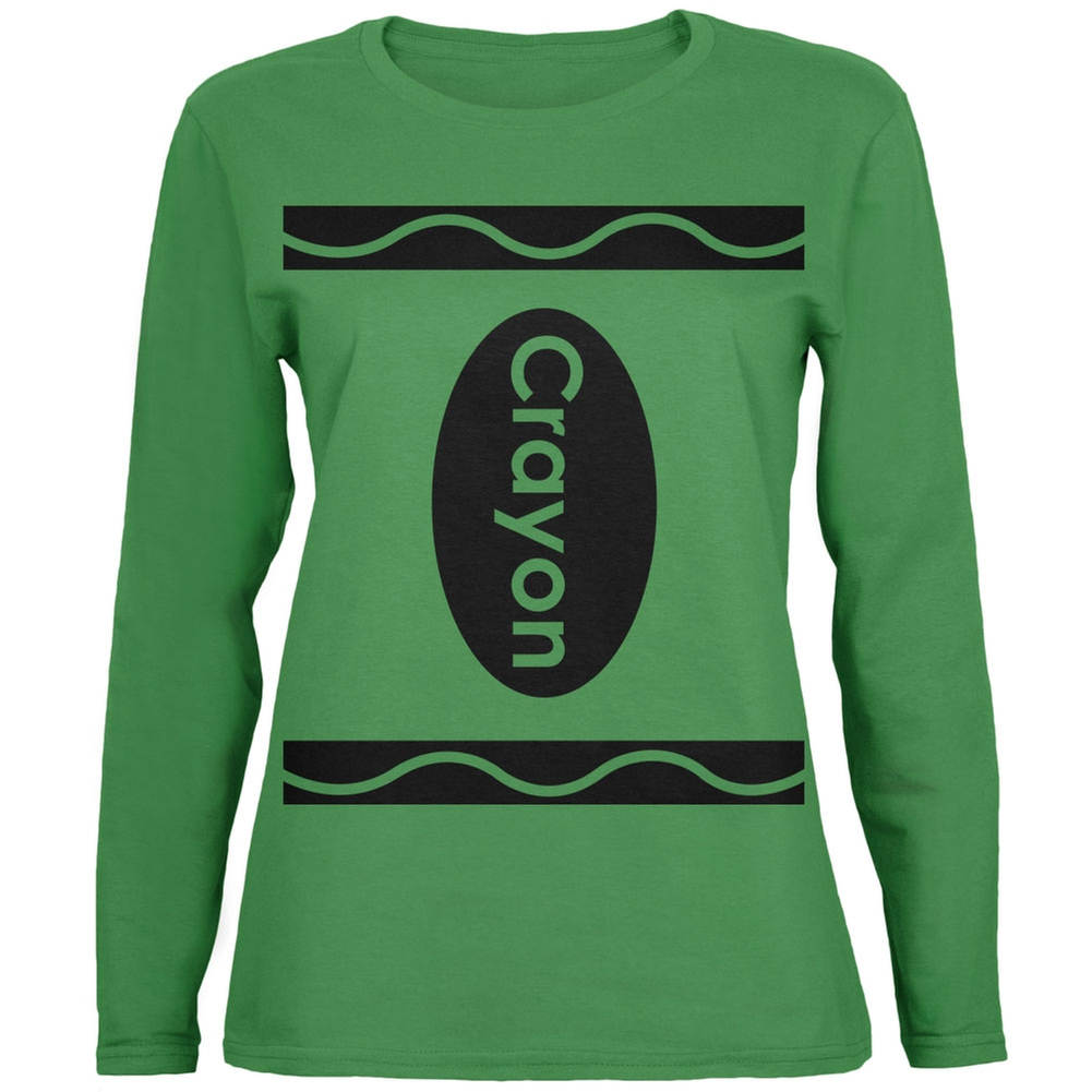 Halloween Crayon Costume Green Womens Long Sleeve T-Shirt
