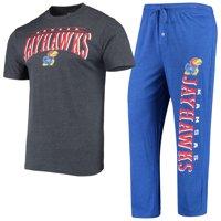 Kansas Jayhawks Concepts Sport Topic T-Shirt and Pants Sleep Set - Heathered Royal/Charcoal