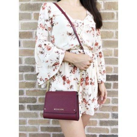 f264ed8ef868df Michael Kors Hayes Small Clutch Crossbody Bag Mulberry Burgundy Leather -  Walmart.com