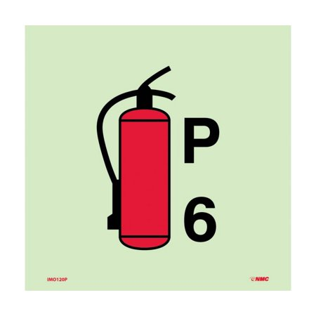 Nmc Signs Imo120p  Symbol Fire Extinguisher Powder Imo Label  6 X 6  6 Hour Glow Polyester