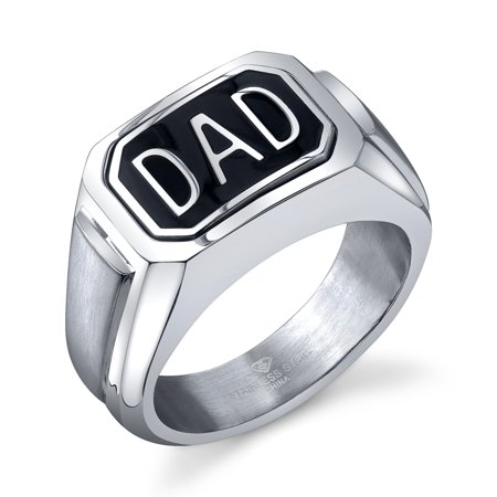 "Men's Stainless Steel Diamond Accent ""DAD"" Flip Ring - Perfect gift for Father's Day - Mens"