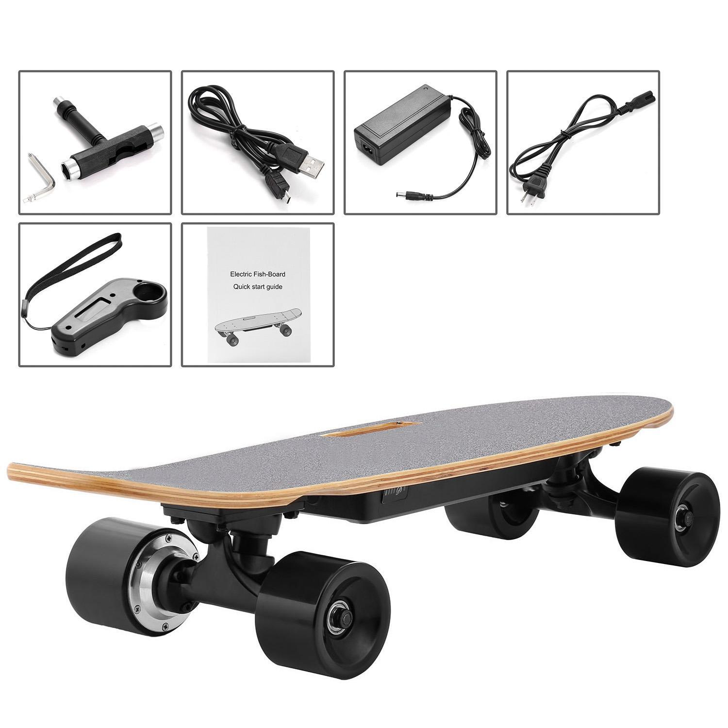 New Electric Fish-Board Skateboard Transportation Electric Longboard with Wireless Handheld Remote Control by