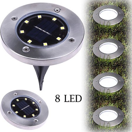 8LED Solar Powered Ground Lights, 2Pack Outdoor lamp Waterproof LED Solar Path Lights Garden Landscape Spike Lighting for Yard Driveway Lawn (Solar Led Landscape Light)