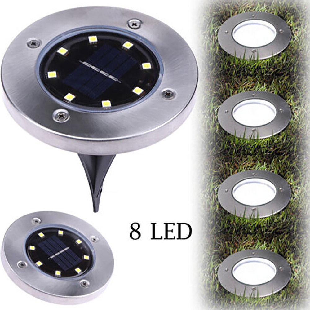 8LED Solar Power Buried Light, 2Pack Solar Power Buried Light Warm White Under Ground Lamp Outdoor Path Way Garden Decking