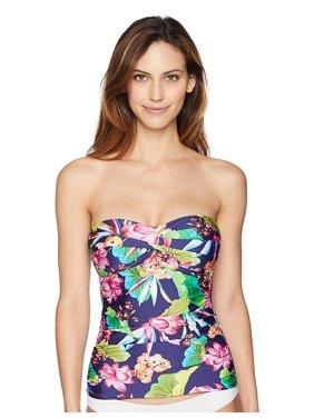 La Blanca Women's Plus Size Bandeau Tankini Swimsuit Top Navy 20W