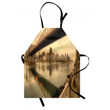 United States Apron Queensboro Bridge Spanning the East River in New York City Serene Scenery, Unisex Kitchen Bib Apron with Adjustable Neck for Cooking Baking Gardening, Tan Egg Shell, by (Tan Apron)