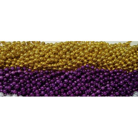 48 LSU Purple Gold Mardi Gras Beads Football Party Favors Tailgate BCS 4 Dozen