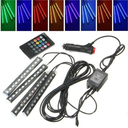 Rgb Led Strip Controller - 4 in 1 Car Interior Decorative Light RGB LED Strip Foot Lamp with Remote Controller