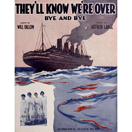 Sheet Music Cover 1918 Theyll know were over Canvas Art - Unknown (18 x 24) ()