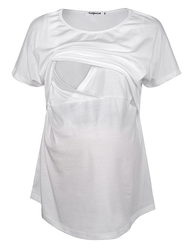 TINHAO Women's Maternity Solid Color Short Sleeve Irregular Hem Double Layered Nursing T-Shirt Loose Tops For Breastfeeding