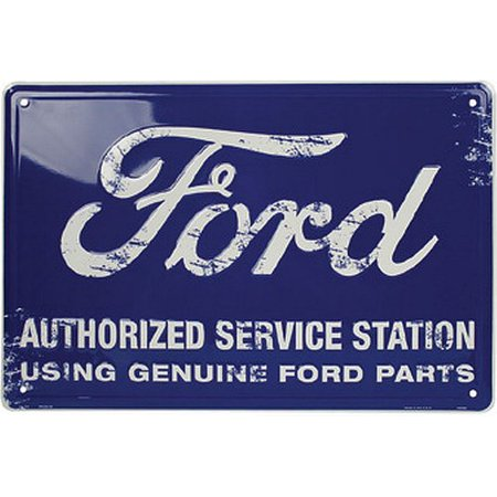 """Ford Authorized Service Station Sign Tin Blue 12"""" x 18"""""""