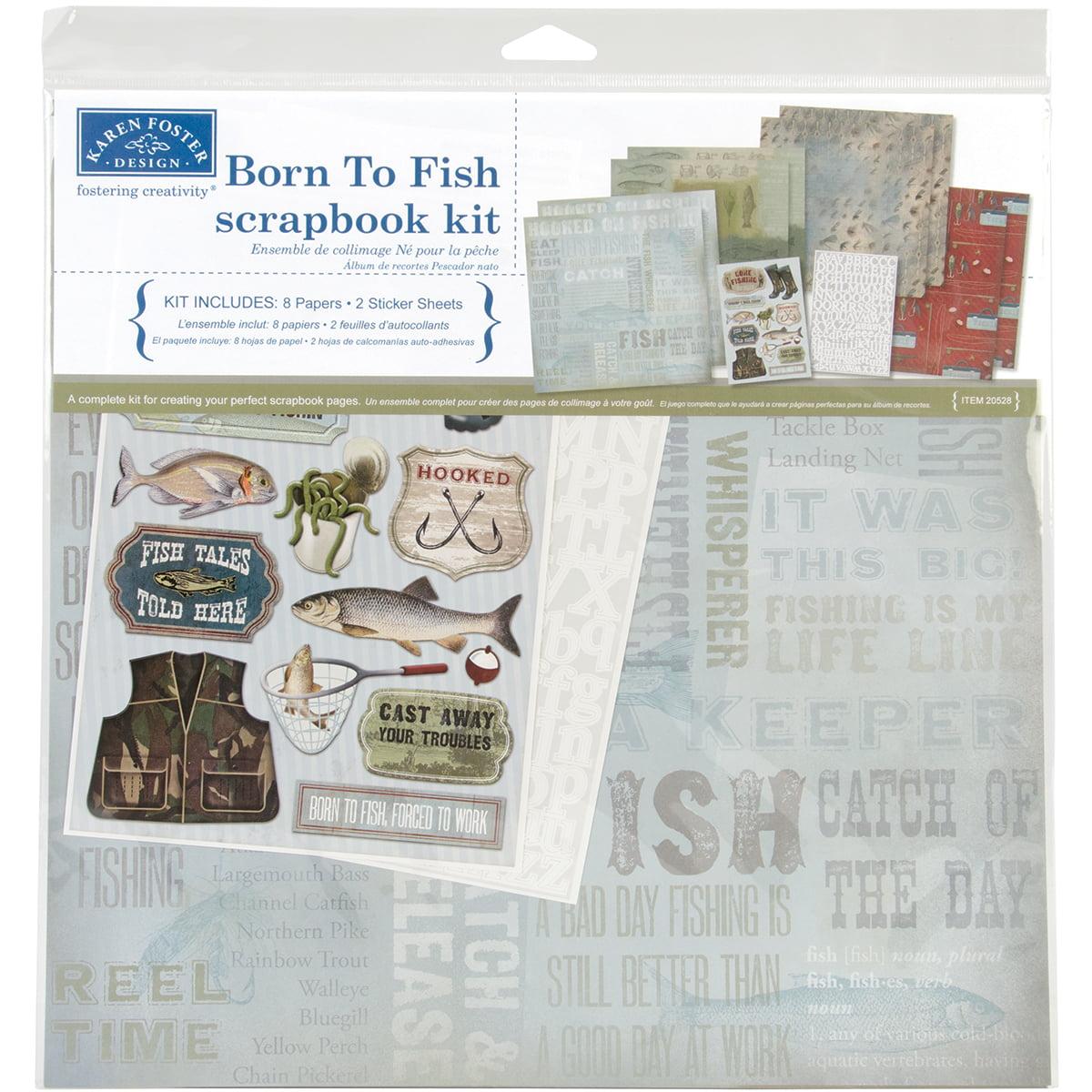 "Karen Foster Born To Fish Scrapbook Page Kit, 12"" x 12"""