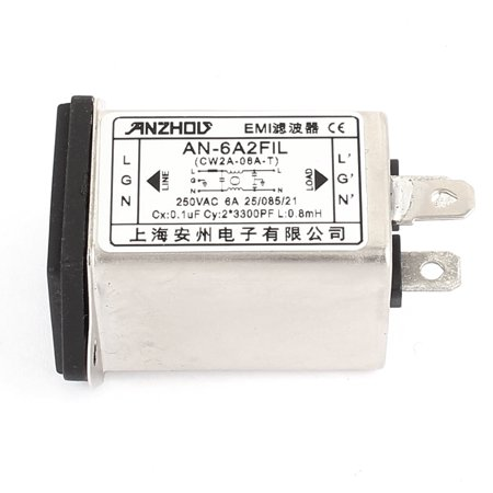 AC 250V 6A AN-16A2FIL General Purpose AC Power EMI Noise Filter Sliver Tone - image 1 of 3