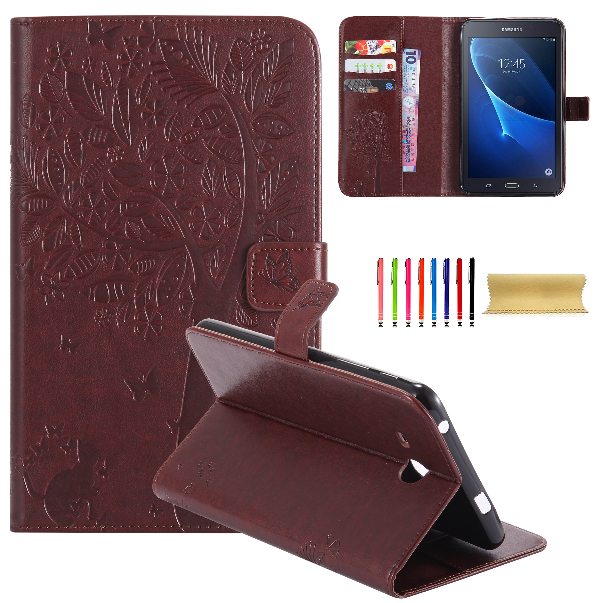 """Galaxy Tab A 7.0 Case, Goodest Embossed Butterfly Tree Cat Magnetic Leather Smart Case [Auto Sleep/Wake]Slim Folio Flip Wallet [Card Slots] Stand Cover for Samsung Galaxy Tab A 7.0"""" T280, Coffee"""