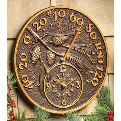 Pinecone Thermometer Clock - Antique Copper