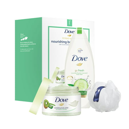 Dove 3-Pc Beauty Gift Set Kiwi Seeds & Cool Moisture with BONUS Pouf (Body Polish, Body Wash)