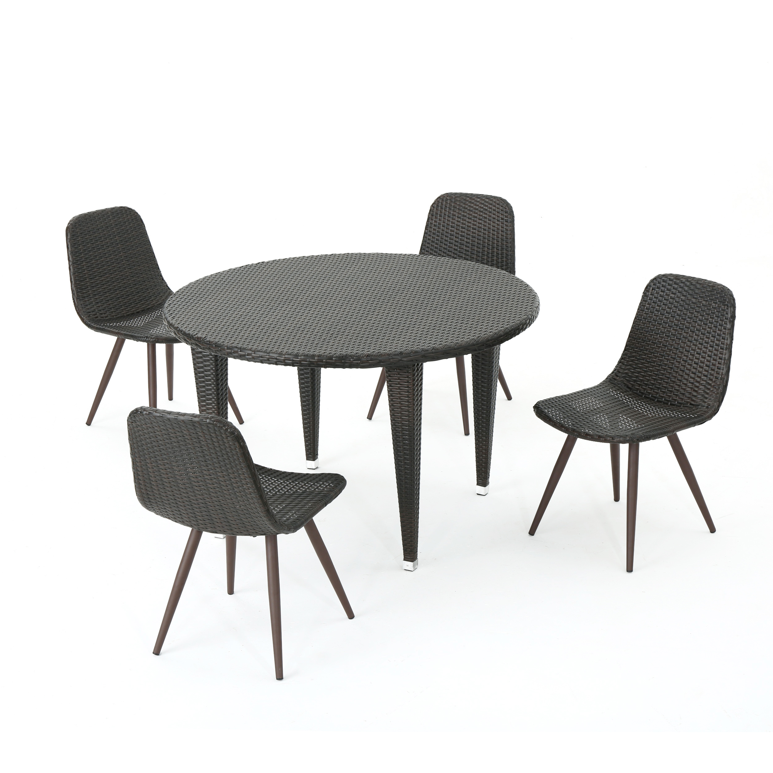 Gamba Outdoor 5 Piece Wicker Circular Dining Set, Multibrown