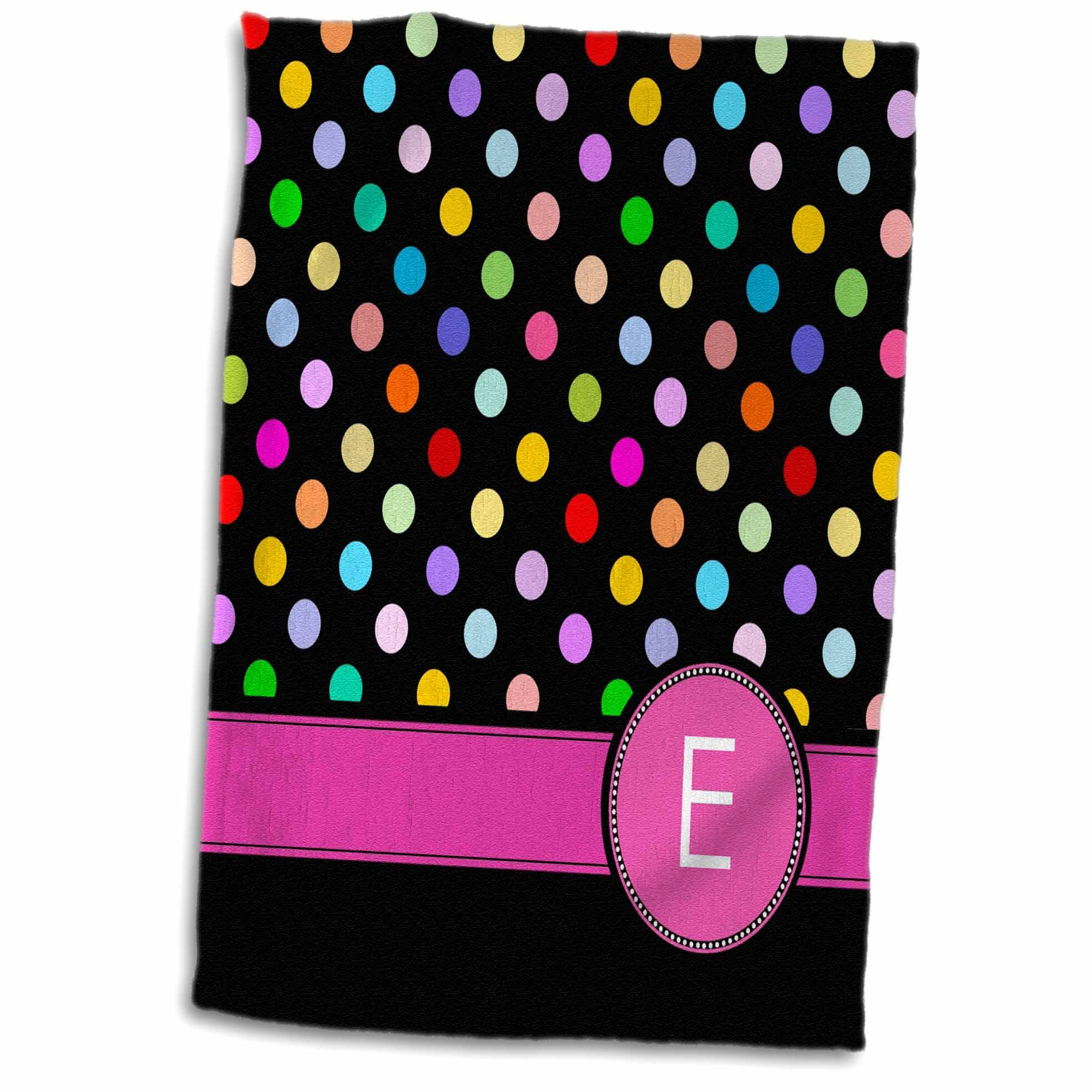 3dRose Letter E monogrammed on rainbow polka dots pattern hot pink personal initial Black girly multicolor - Towel, 15 by 22-inch