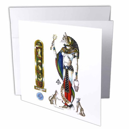 3dRose Bast Egyptian Cat Goddess Pagan Art on white background, Greeting Cards, 6 x 6 inches, set of 12