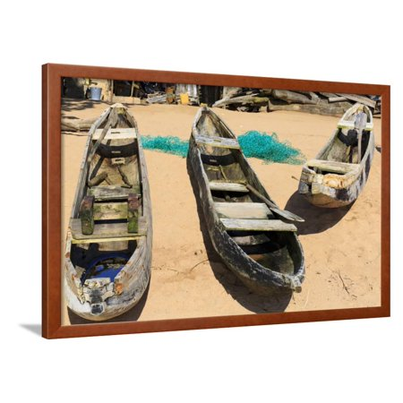 Three Old Dugout Canoes on the Beach with Nets Framed Print Wall Art By guppy (Best Wood For Dugout Canoe)