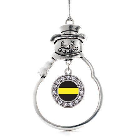 Gold Snowman (Thin Gold Line Dispatcher Support Circle Snowman Holiday Ornament )