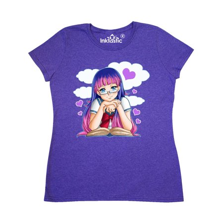 Anime Girl with Glasses Reading with Cloud and Hearts Women's T-Shirt](Dessins Animes Halloween)