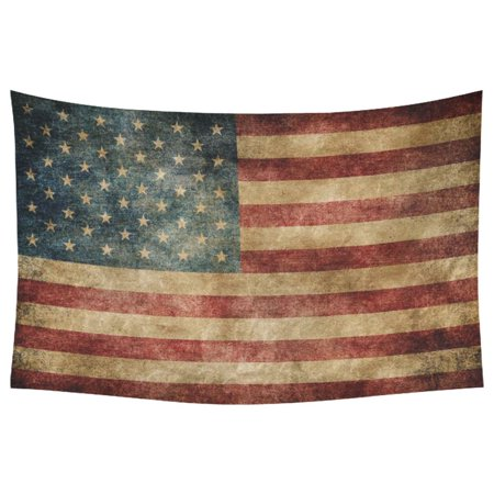 PHFZK Stars and Stripes USA Flag Wall Art Home Decor, Vintage Retro American Flag Background Bule Red Tapestry Wall Hanging 60 X 90 - American Flag Tapestry