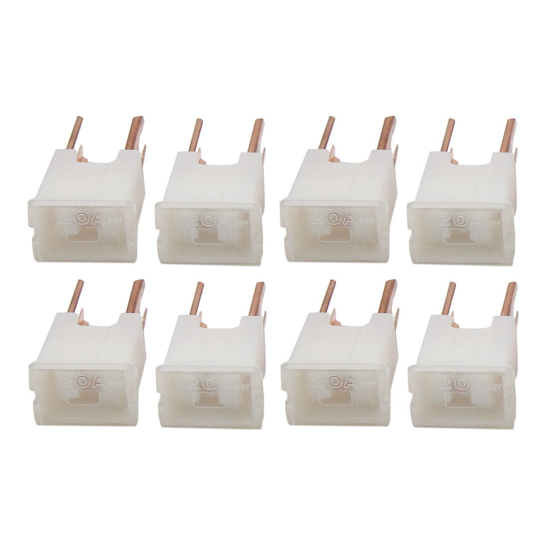 8Pcs White Auto Car 2 Terminal Push-in Type Male PAL Link Fuse DC 32V 20A