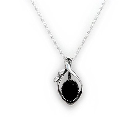 Sterling Silver and Stone Elliptical Drop Pendant Necklace, Onyx ()