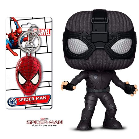 Two Face Suit (Warp Gadgets Spider-Man Bundle - Funko Pop Marvel: Far Away from Home -Stealth Suit Spider-Man and Spider-Man Face Peweter Key Ring (2)