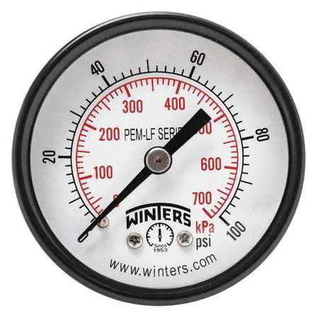 WINTERS PEM1407LF Gauge, Pressure, 2in., 0 to 100 psi