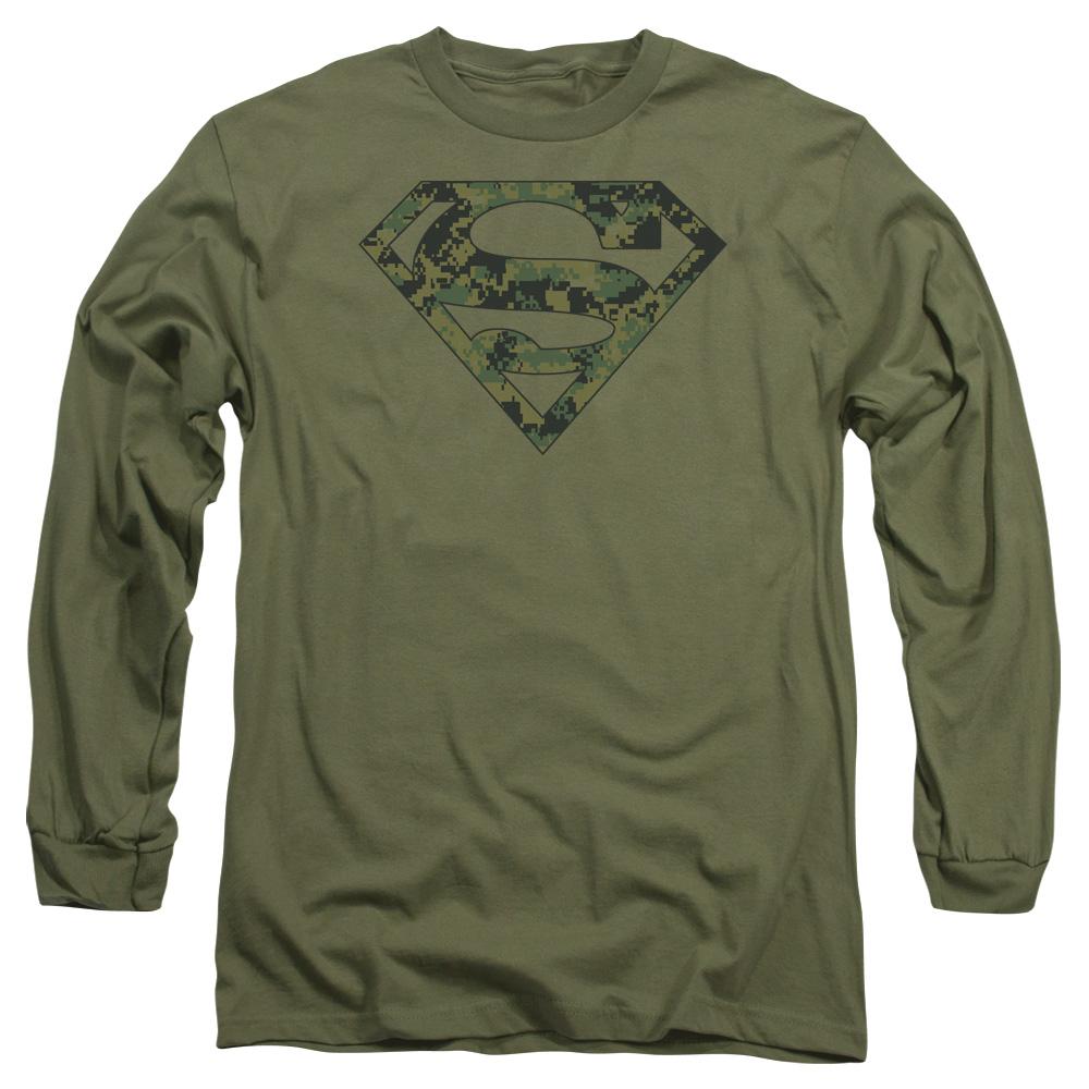 SUPERMAN/MARINE CAMO SHIELD-L/S ADULT 18/1-MILITARY GREEN-XL