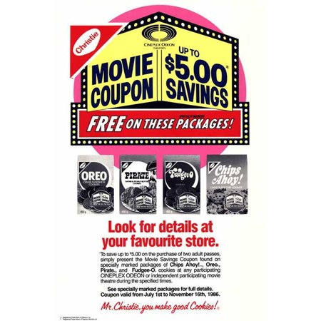 Cineplex Odeon Nabisco Coupon Savings POSTER Movie B (27x40) (Halloween Superstore Coupons)