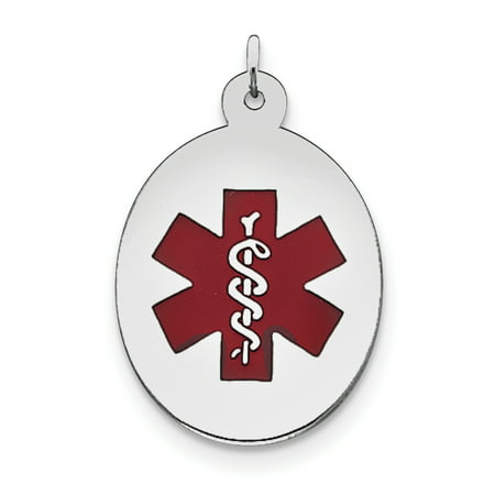 Sterling Silver Rhodium-plated Medical Jewelry Pendant XSM84 (31mm x 22mm) - image 1 of 2