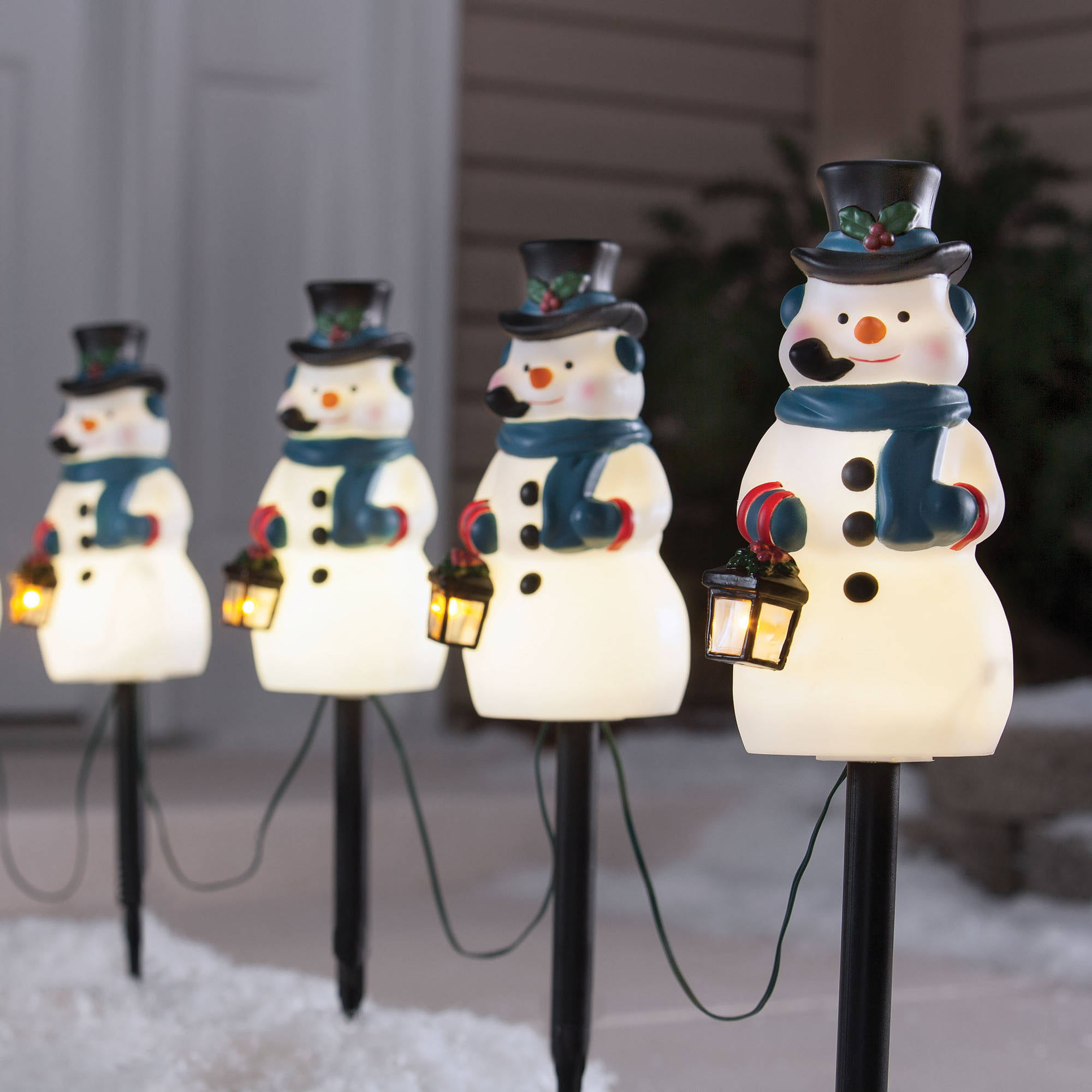 holiday time 4 piece vintage snowman pathway christmas lighted lawn stakes set walmartcom - Christmas Pathway Decorations