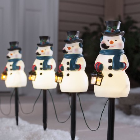 Christmas Pathway Lights.Holiday Time 4 Piece Vintage Snowman Pathway Christmas Lighted Lawn Stakes Set