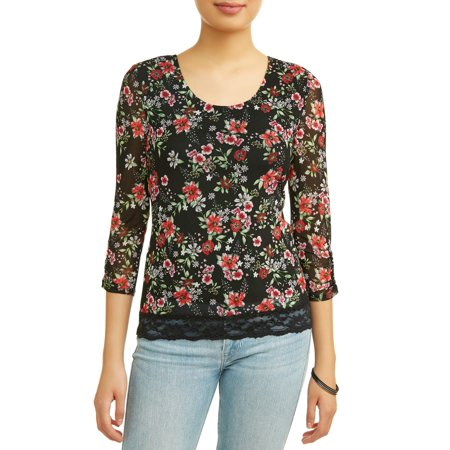Little Tee Tee Lace And Trims (No Boundaries Juniors' Floral Printed Lace Trim Caged Back Long Sleeve)