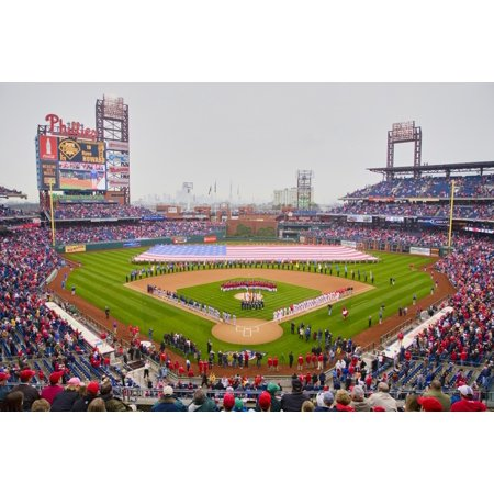 Opening Day Ceremonies Featuring Gigantic American Flag In Centerfield On March 31 2008 Citizen Bank Park Where 44553 Attend As The Washington Nationals Defeat The Philadelphia Phillies 11 To 6 Poster