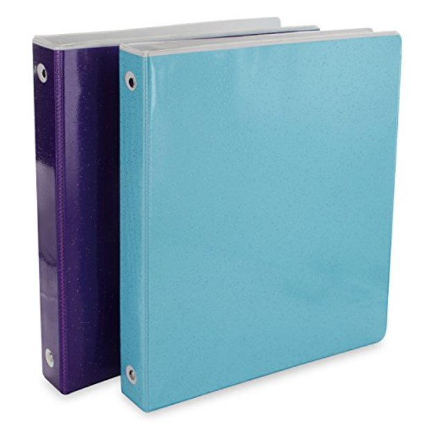 "2PK HD Glitter 3-Way View 3-Ring Binder 1""-Used For Papers"
