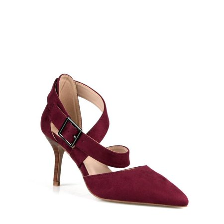 Criss Cross Ankle Strap (Calico Kiki Criss cross Adjustable Ankle Strap Women's Pumps in Wine )
