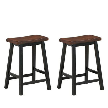 Gymax Set Of 2 Bar Stools 24 H Saddle Seat Pub Chair Home