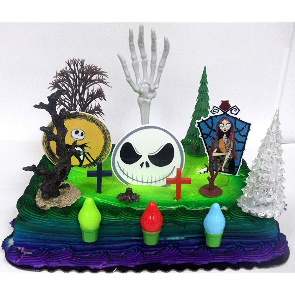 nightmare before christmas birthday cake topper set featuring jack