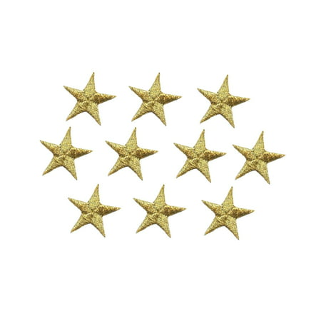 """1/2"""" Gold Star PACK of 10 PIECES - Iron on Embroidered Applique Patch"""