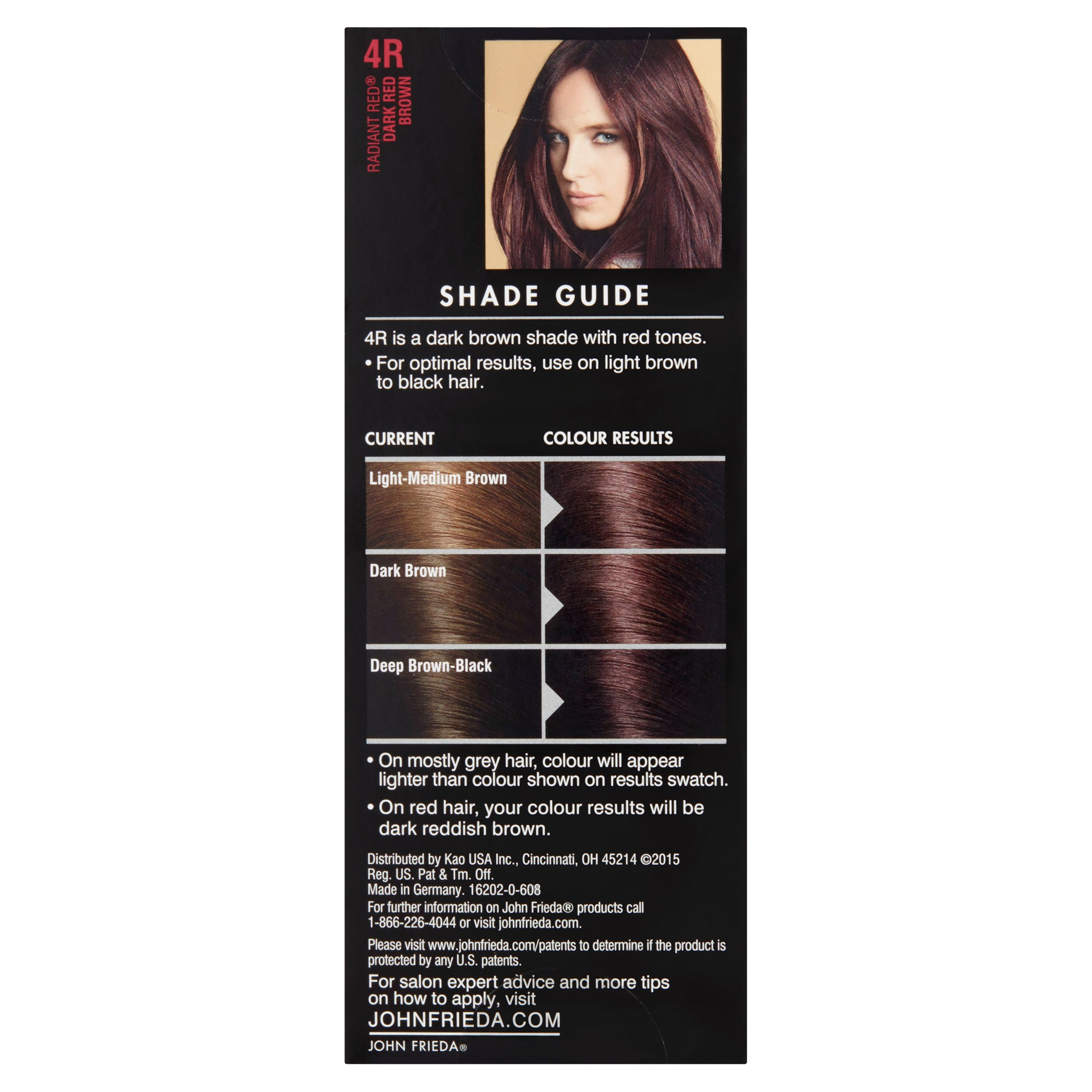 John Frieda Radiant Red 4r Dark Red Brown Precision Foam Colour 1